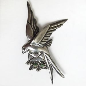 Antique Mexican Sterling Silver Bird Brooch